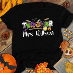 TS-U-Job-HallTxtScho-Tcer-210920VA10 @ Teacher Halloween Text School-Teacher Custom Name Halloween Shirt